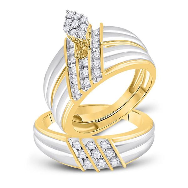 His Hers Diamond Cluster Matching Wedding Set 3/4 Cttw 14kt Two-tone Gold