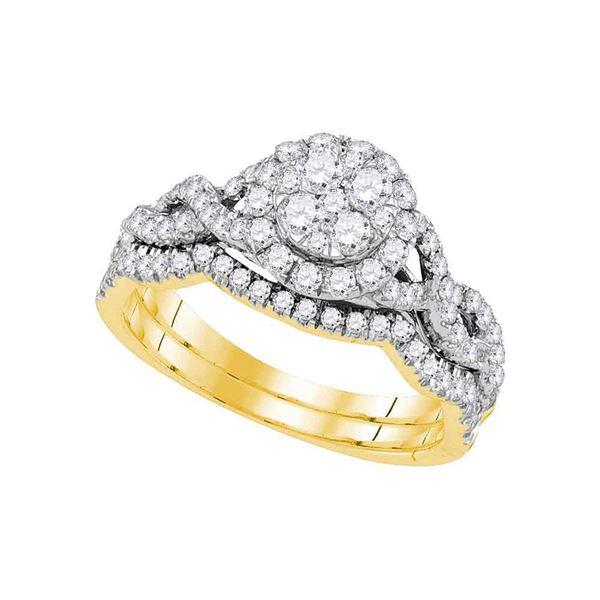 Diamond Cluster Bridal Wedding Ring Band Set 7/8 Cttw 14kt Yellow Gold