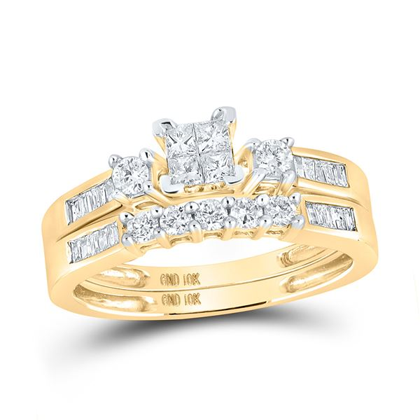Princess Diamond Bridal Wedding Ring Band Set 3/8 Cttw 10kt Yellow Gold