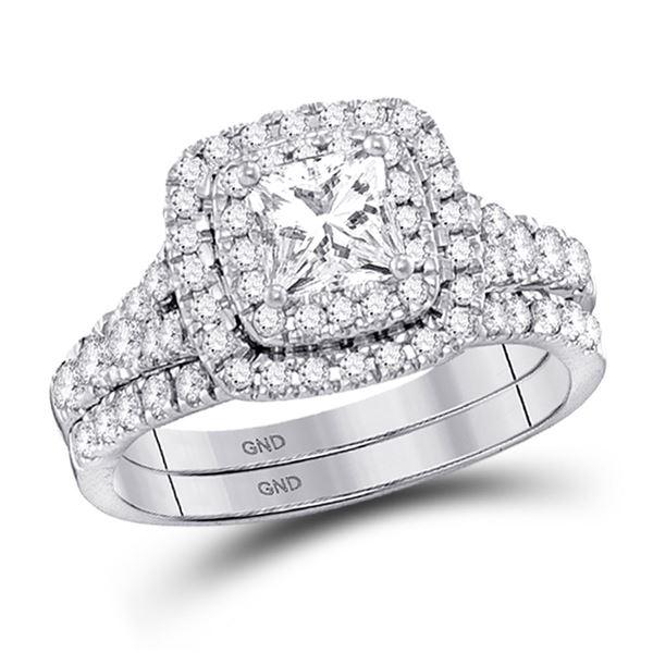 Princess Diamond HaloBridal Wedding Engagement Ring Set 1-1/2 Cttw 14kt White Gold
