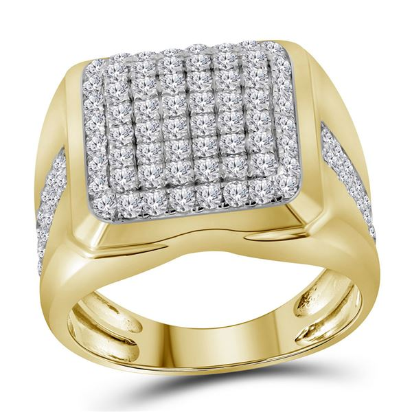 Mens Diamond Square Cluster Fashion Ring 2 Cttw 10kt Yellow Gold