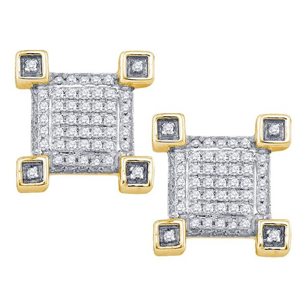 Mens Diamond Cluster Earrings 1/5 Cttw 10kt Yellow Gold