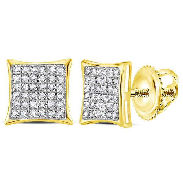 Diamond Square Cluster Earrings 1/4 Cttw 10kt Yellow Gold