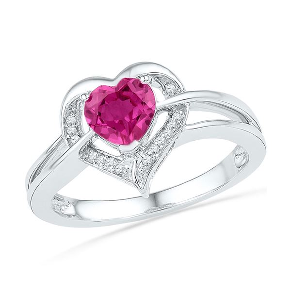 Lab-Created Pink Sapphire Heart Diamond Ring 1 Cttw Sterling Silver