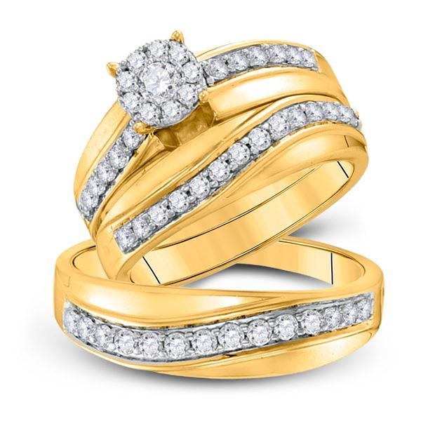 His Hers Diamond Cluster Matching Wedding Set 1 Cttw 14kt Yellow Gold