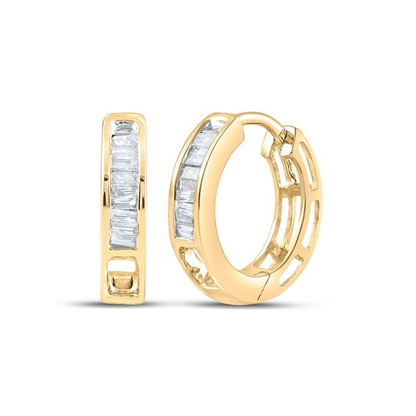Baguette Diamond Huggie Earrings 1/6 Cttw Yellow-tone Sterling Silver