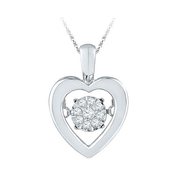 Diamond Moving Twinkle Heart Pendant 1/10 Cttw Sterling Silver