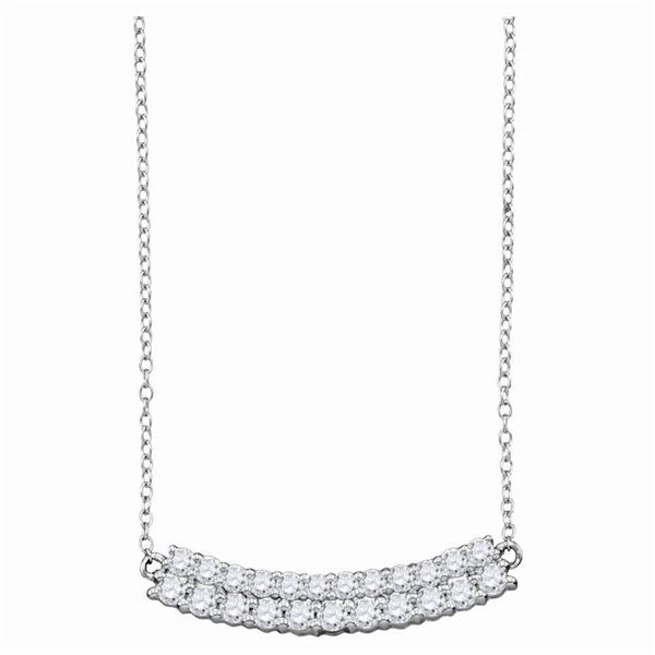 Diamond Curved Double Row Bar Necklace 1 Cttw 14kt White Gold