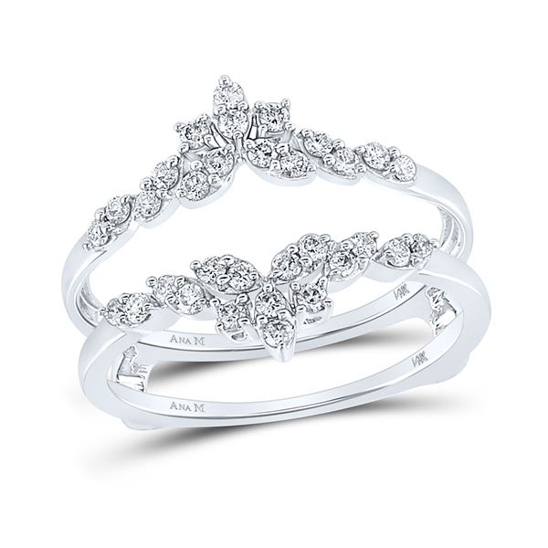 Diamond Fashion Wrap Ring Guard Enhancer 1/3 Cttw 14kt White Gold