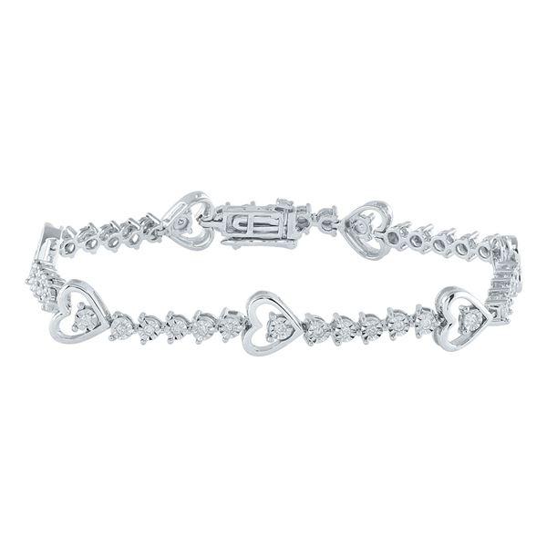 Diamond Heart Tennis Bracelet 1/2 Cttw Sterling Silver