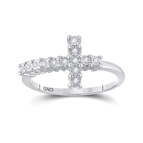 Diamond Cross Ring 1/20 Cttw Sterling Silver
