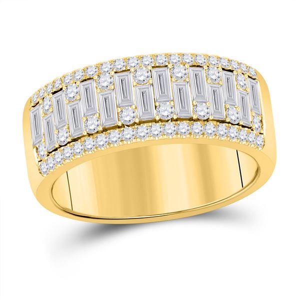 Mens Baguette Diamond Band Ring 1-1/4 Cttw 14kt Yellow Gold
