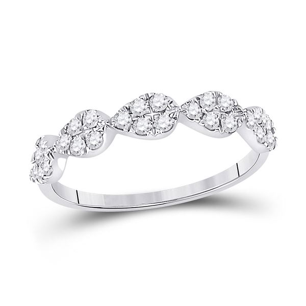 Diamond Teardrop Stackable Band Ring 1/3 Cttw 10kt White Gold