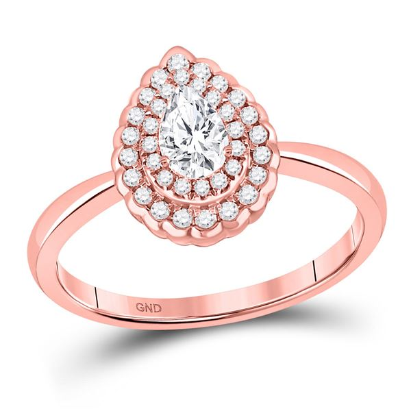 Pear Diamond Solitaire Bridal Wedding Engagement Ring 3/4 Cttw 14kt Rose Gold