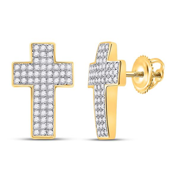Mens Diamond Cross Earrings 1/2 Cttw 10kt Yellow Gold