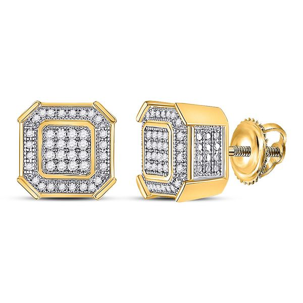 Mens Diamond Square Cluster Earrings 1/4 Cttw 10kt Yellow Gold