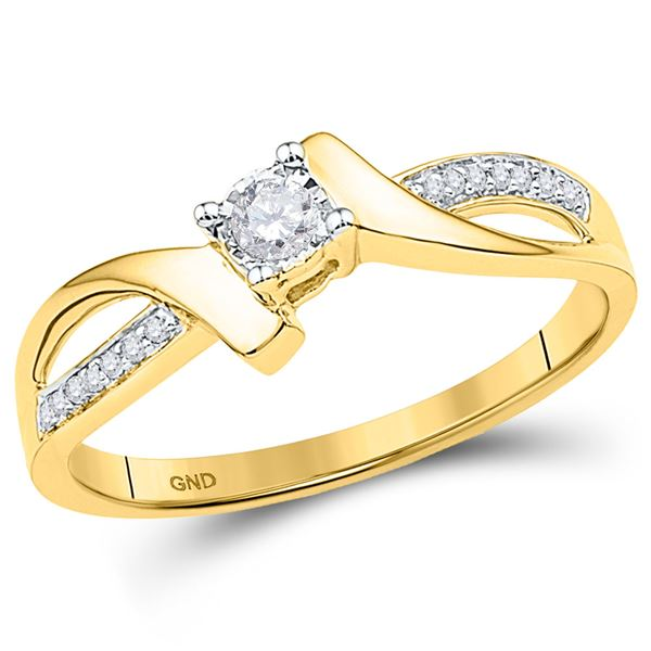 Diamond Solitaire Promise Ring 1/10 Cttw 10kt Yellow Gold