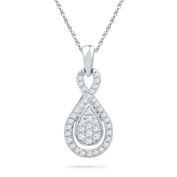 Diamond Teardrop Cluster Pendant 1/3 Cttw 10kt White Gold
