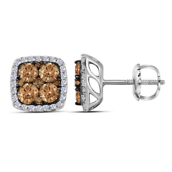 Brown Diamond Square Cluster Earrings 1 Cttw 14kt White Gold