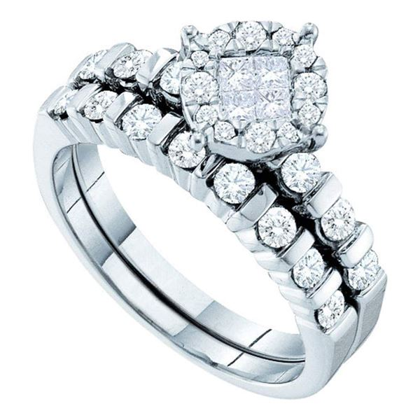 Princess Diamond Bridal Wedding Ring Band Set 7/8 Cttw 14kt White Gold