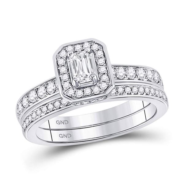 Emerald Diamond Bridal Wedding Ring Band Set 1 Cttw 14kt White Gold
