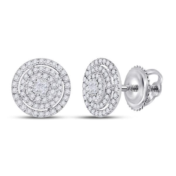 Princess Diamond Fashion Cluster Earrings 1/2 Cttw 14kt White Gold