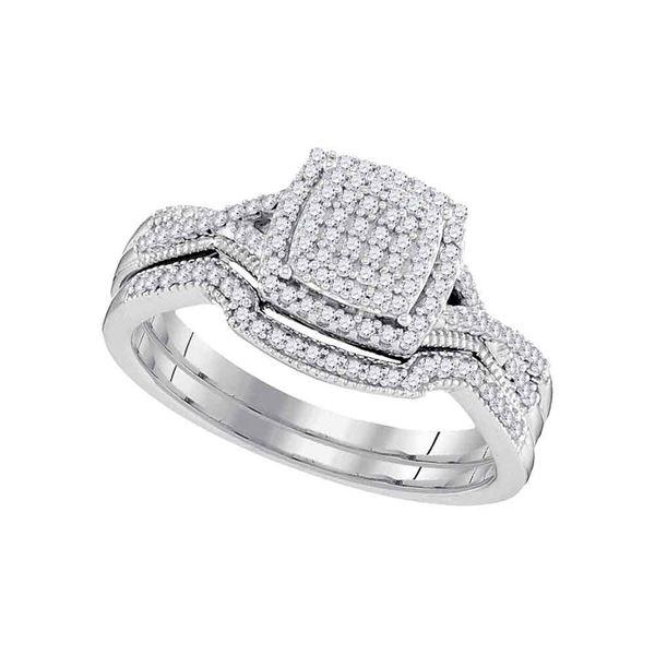 Diamond Square Bridal Wedding Ring Band Set 1/3 Cttw 10kt White Gold