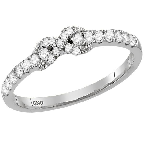 Diamond Infinity Knot Stackable Band Ring 1/4 Cttw 14kt White Gold