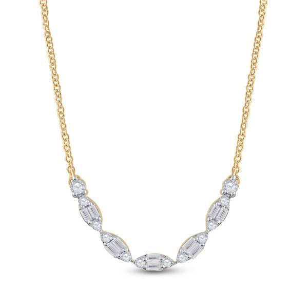 Baguette Diamond Fashion Necklace 1/2 Cttw 14kt Yellow Gold