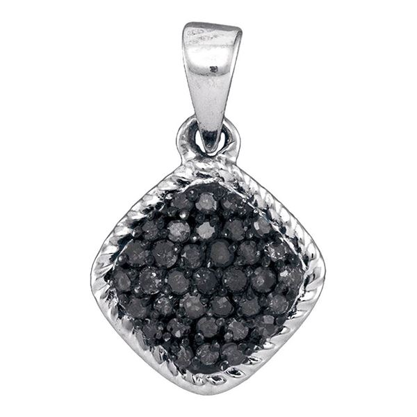 Black Color Enhanced Diamond Cluster Pendant 1/4 Cttw 10kt White Gold