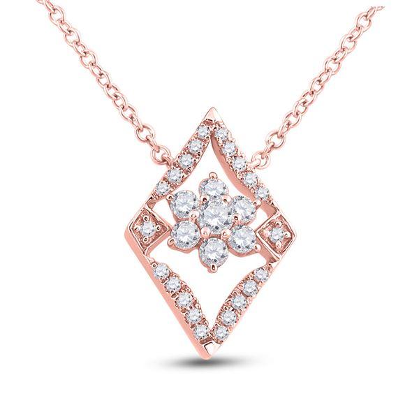 Diamond Geometric Cluster Necklace 1/3 Cttw 14kt Rose Gold