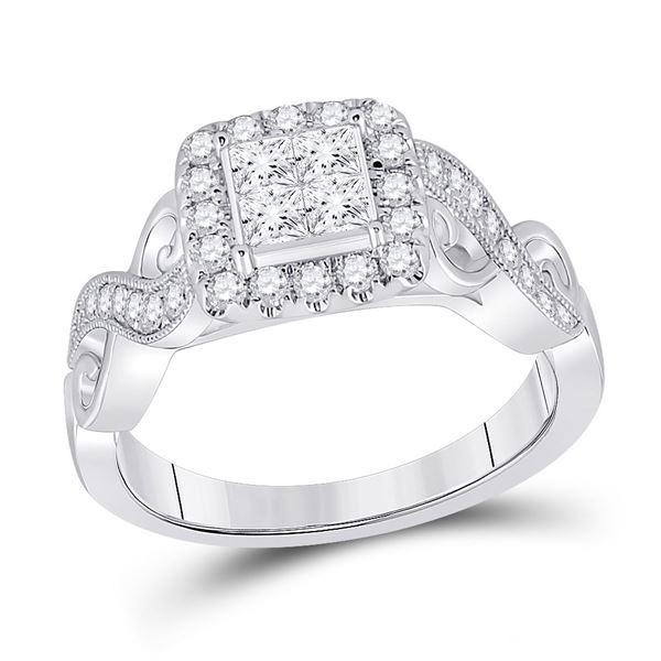 Princess Diamond Square Ring 7/8 Cttw 14kt White Gold