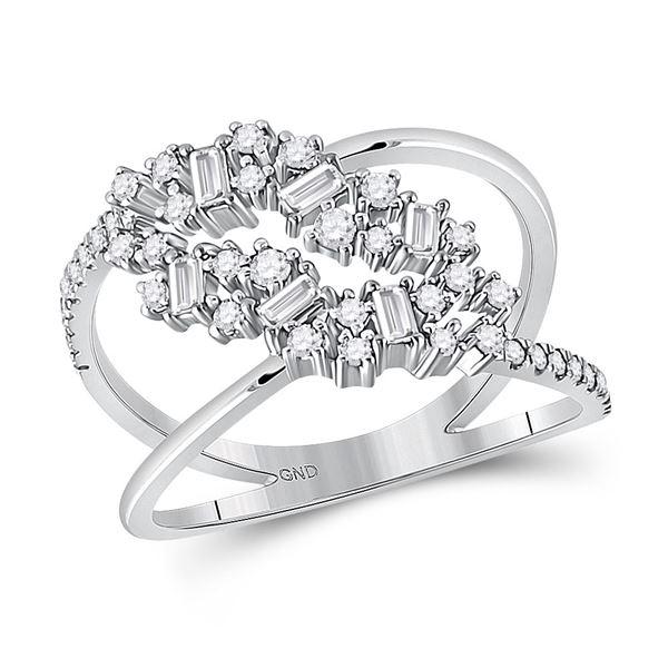 Baguette Diamond Scattered Band Ring 3/8 Cttw 14kt White Gold