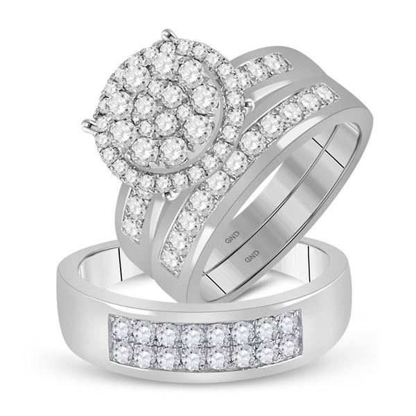 His Hers Diamond Cluster Matching Wedding Set 1-7/8 Cttw 14kt White Gold