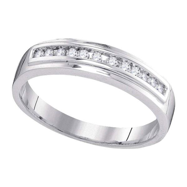 Diamond Single Row Wedding Band 1/8 Cttw 10kt White Gold