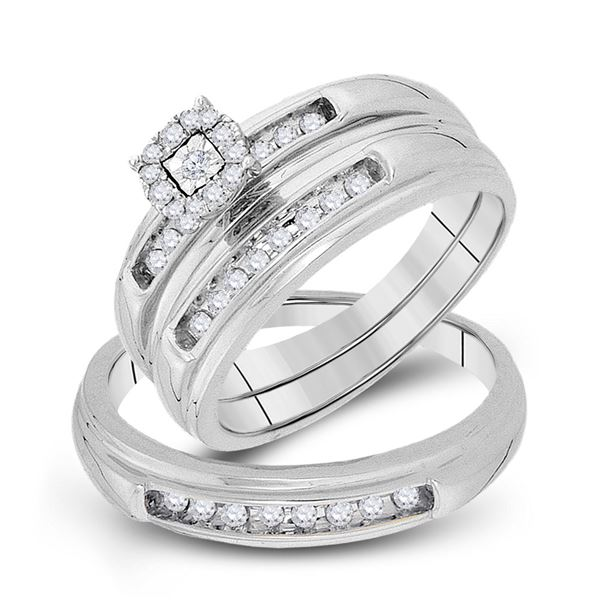 His Hers Diamond Cluster Matching Wedding Set 1/3 Cttw 10kt White Gold
