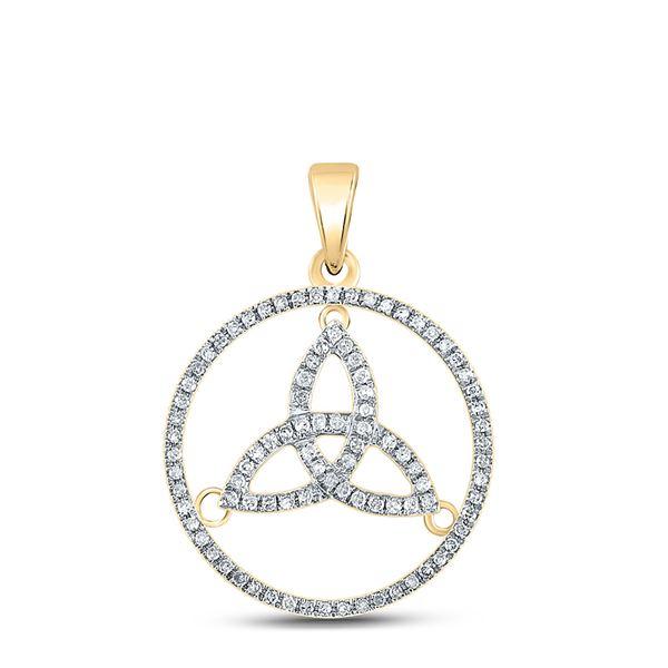 Diamond Trinity Triquetra Circle Pendant 1/4 Cttw 10kt Yellow Gold