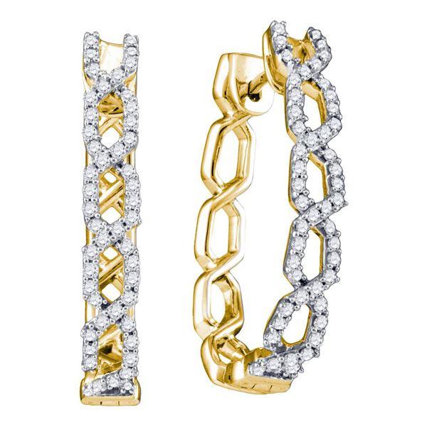 Diamond Hoop Earrings 1/2 Cttw 10kt Yellow Gold