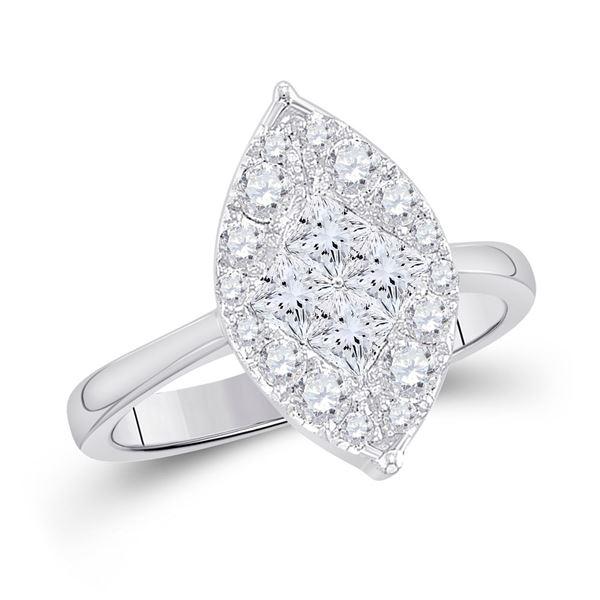 Princess Diamond Cluster Bridal Wedding Engagement Ring 1/4 Cttw 14kt White Gold