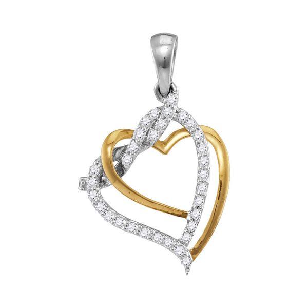 Diamond Heart Pendant 1/5 Cttw 10kt Two-tone Gold