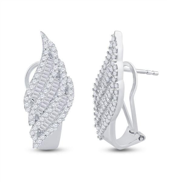 Diamond French-Clip Hoop Earrings 1-1/3 Cttw 14kt White Gold