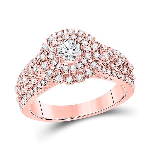 Diamond Halo Bridal Wedding Engagement Ring 1 Cttw 14kt Rose Gold