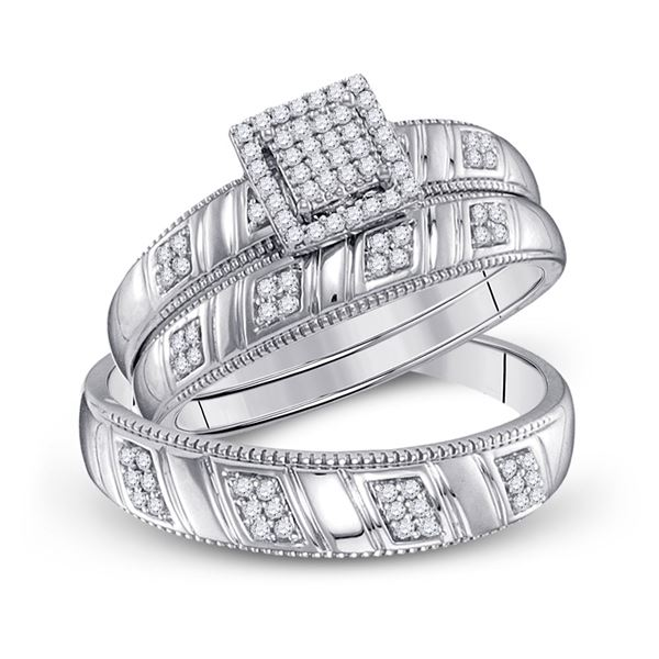 Sterling Silver His Hers Diamond Square Matching Wedding Set 1/4 Cttw Sterling Silver