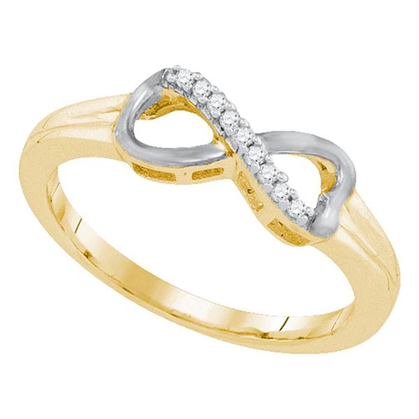 Diamond Infinity Ring 1/20 Cttw Yellow-tone Sterling Silver