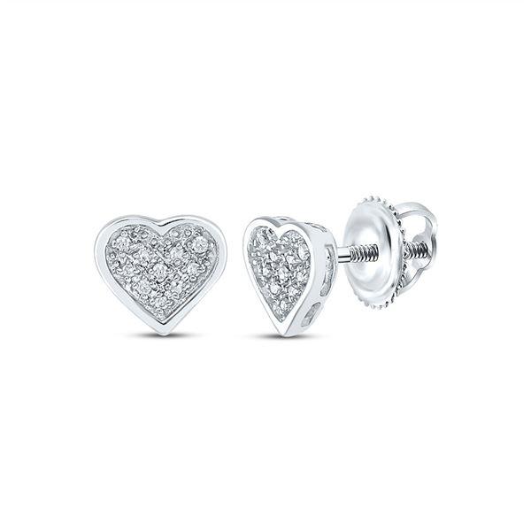 Diamond Heart Earrings 1/20 Cttw Sterling Silver