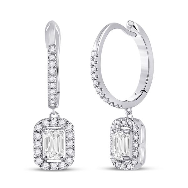 Emerald Diamond Hoop Dangle Earrings 1 Cttw 14kt White Gold