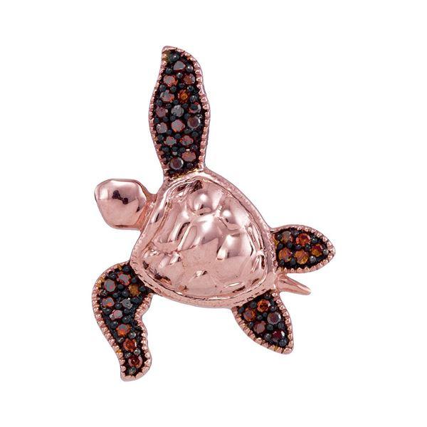 Red Color Enhanced Diamond Sea Turtle Tortoise Pendant 1/10 Cttw 10kt Rose Gold