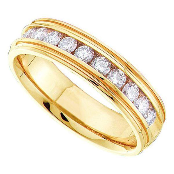 Mens Channel-set Diamond Ridged Edge Wedding Band 1/4 Cttw 14kt Yellow Gold