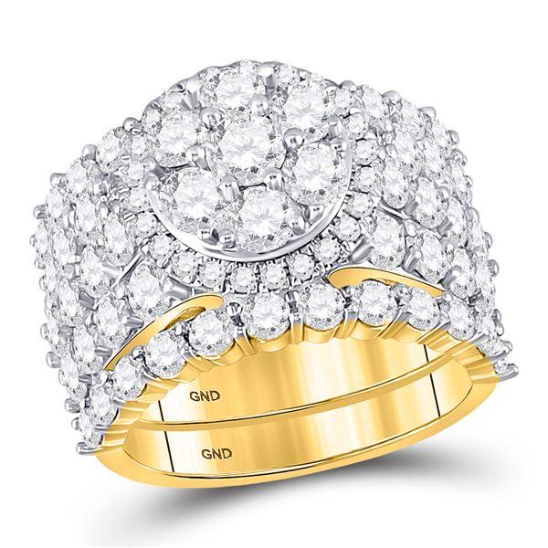 Diamond Cluster Bridal Wedding Ring Band Set 5 Cttw 14kt Yellow Gold