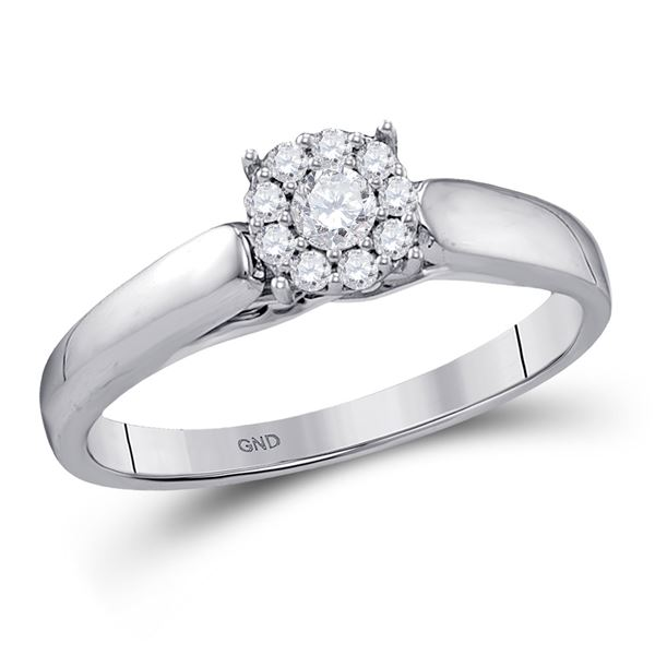 Diamond Solitaire Bridal Wedding Engagement Ring 1/5 Cttw 10kt White Gold